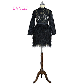 Black 2019 Elegant Cocktail Dresses Sheath High Collar Long Sleeves Short Mini Feather Lace Homecoming Dresses