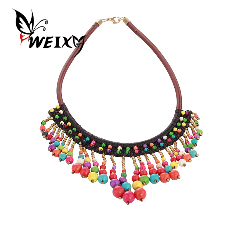 WEIXY Romantic Necklace Women Jewelry Candy Color Colorful Natural Stone Beads Pendant Big Rope Braided Chain Female Accessories