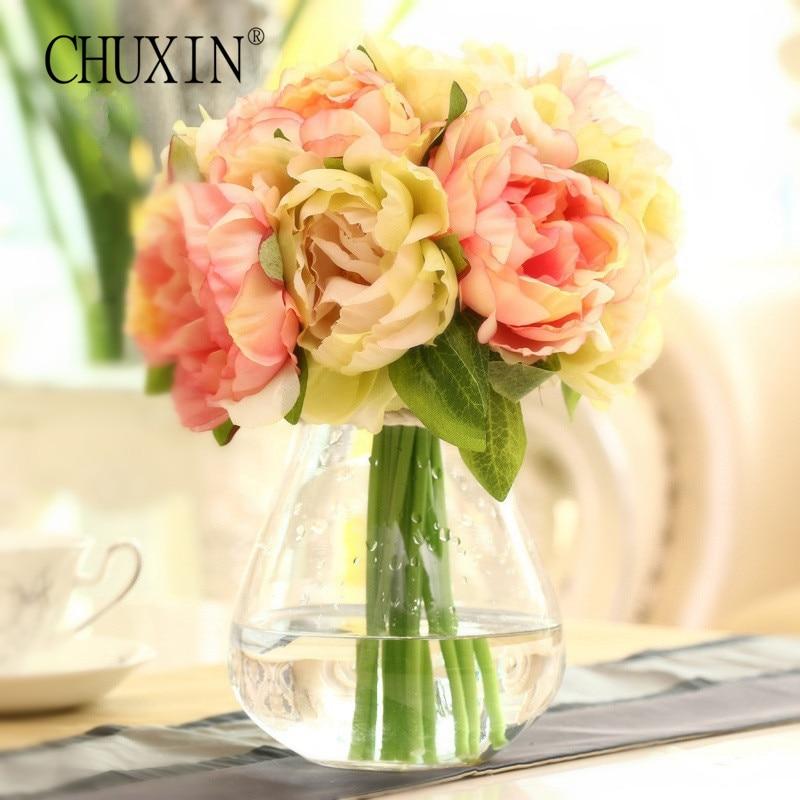 Hot Sell 10 Heads Bride Bouquet Wedding Flowers Peony Rose Silk Flower Artificial Flower For