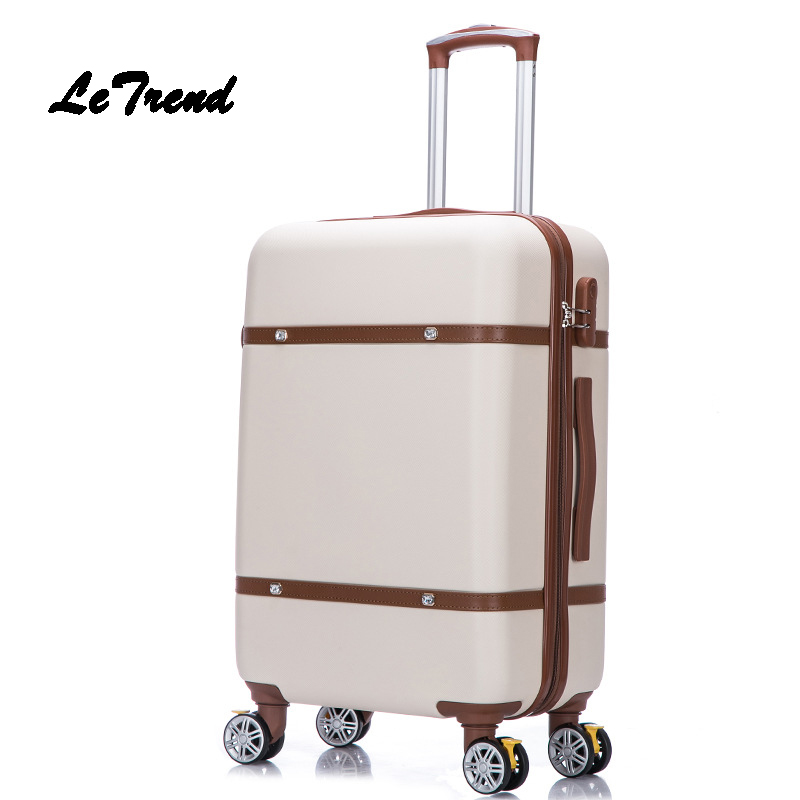 LeTrend Korean Retro Rolling Luggage Spinner Women Trolley Suitcase Wheels Student Travel bag Password Hardside Carry On Trunk ...