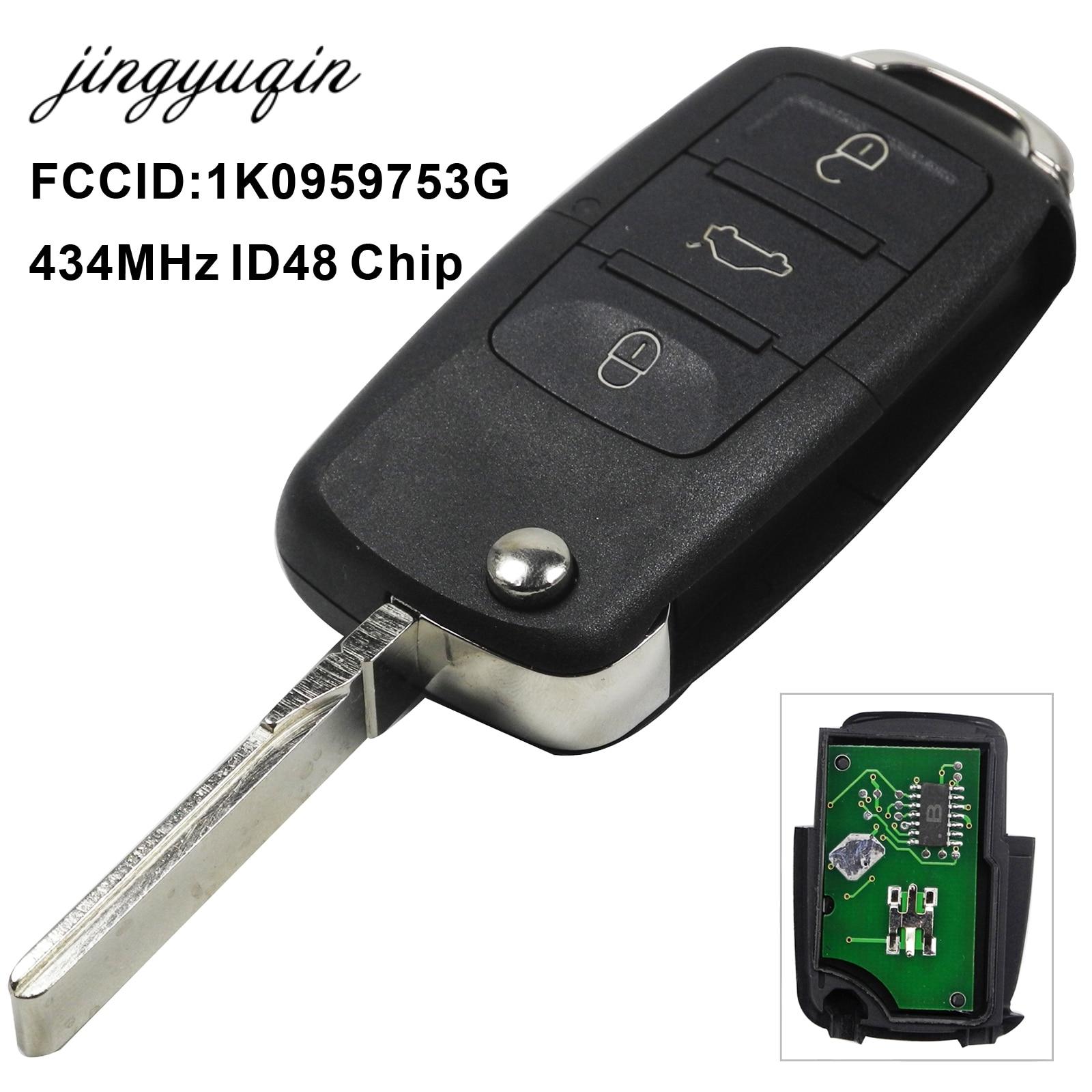 jingyuqin 434MHz ID48 Chip Car Remote Key for 1K0959753G 5FA009263-10 for Caddy EOS GOLF Jetta Sirocco Tiguan Touran 2003-2009