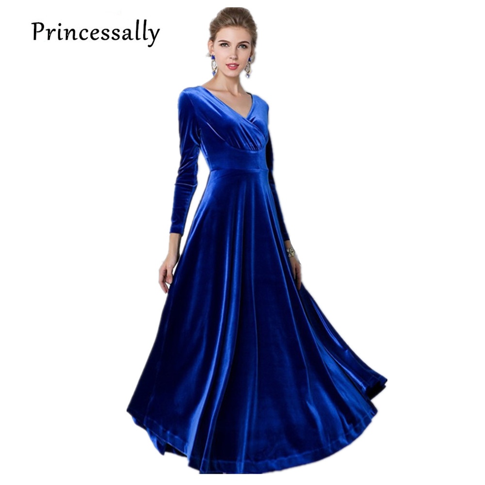 Buy royal blue bridesmaid dress long for Blue wedding dress with sleeves