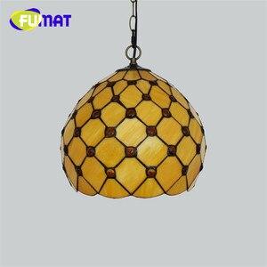 "Image 4 - FUMAT Pendant Light modern Mediterranean Creative Tiffany Stained Glass living room 12 "" Sunflower Home Deco Art Chandelier Lamp"