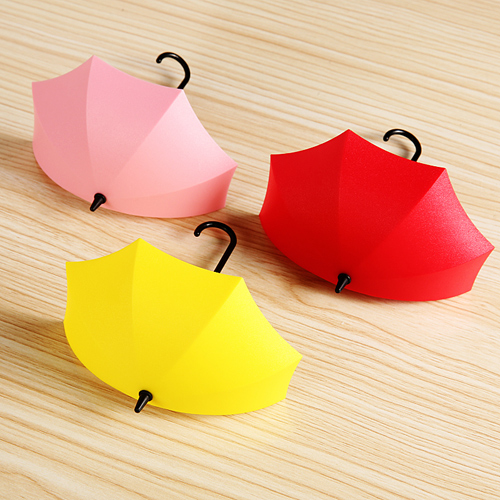 6Pcs/lot Free nail glue umbrella shape wall hooks three containers ...