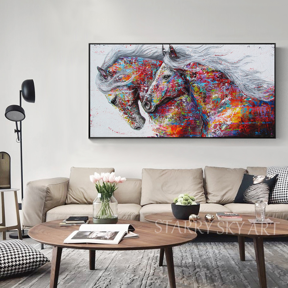 Mode Design Hand bemalt 2 Pferde Ölgemälde auf Leinwand Reiche Farben Abstrakte Tier Pferd Ölgemälde für Wand dekoration - 5