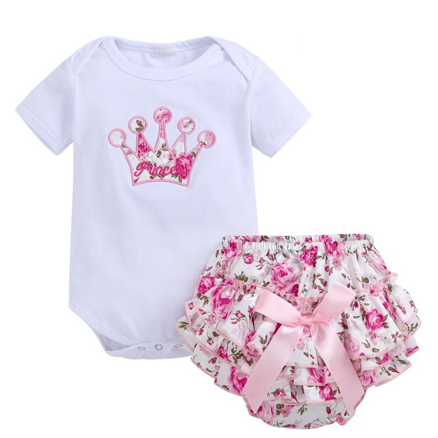 3999e4fea3f7 2019 Summer baby girl clothes Cotton short sleeve Top +Floral PP pants 2pcs set  Newborn baby girl clothing set Infant outfits