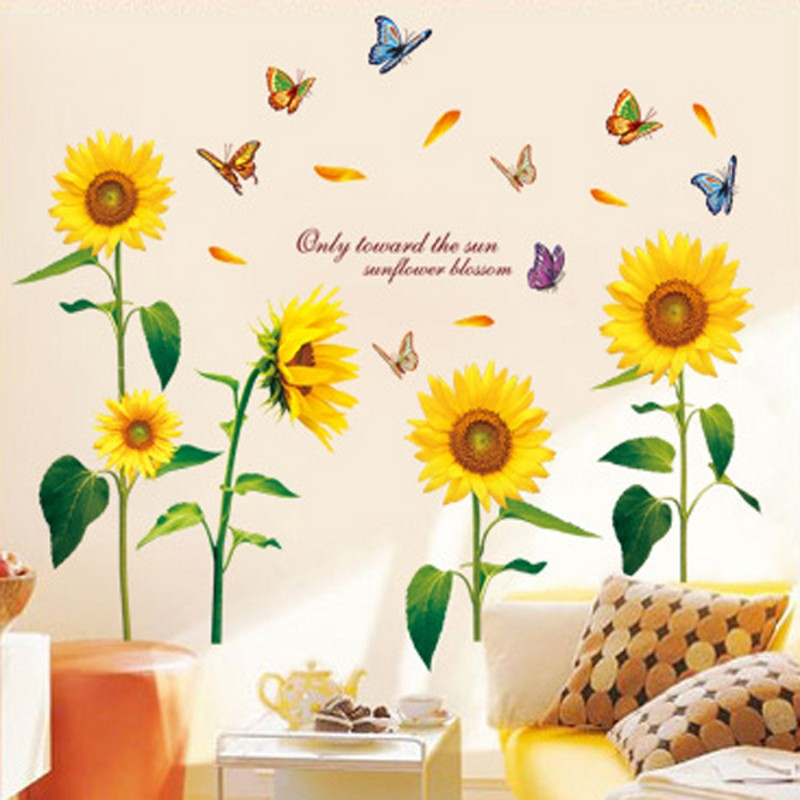 PVC DIY The New Warm Living Room Bedroom Backdrop Sunflower Flowers Home Decor Wall Stickers Wallpaper Waterproof Removable