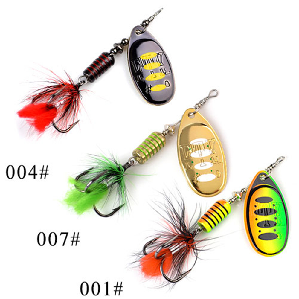 FTK 3pcs Mix Colors Mepps Spinner Bait Fishing Lure Spoon Lures Hard Bait With Mustad Treble Hooks For Carp Lure Fishing 35 allblue new jerkbait professional 100dr fishing lure 100mm 15 8g suspend wobbler minnow depth 2 3m bass pike bait mustad hooks