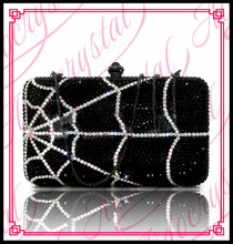 Aidocrystal Bling bling design Nigerian bridal crystal purse black crystal spider's web design women box clutch evening bag