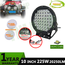 10inch 225w NEW led driving light IP68  super bright work 5W XLGP Leds used for 4X4 SUV ATV 18800LM