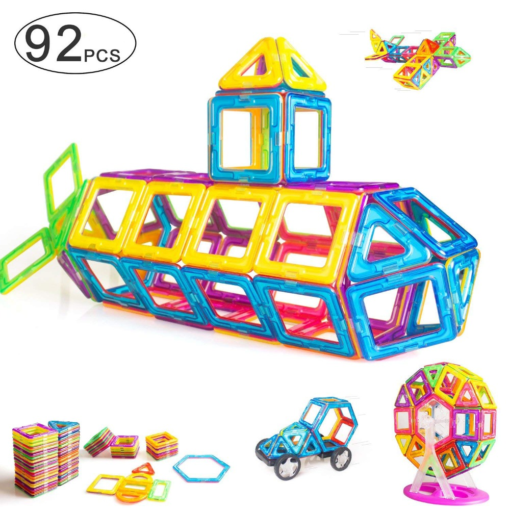 92 PCS DIY Magnetic Blocks Magnetic Building Set Magnetic Tiles  Educational Toys For Baby/Kids Toys For Children Boys 3 Years(China)