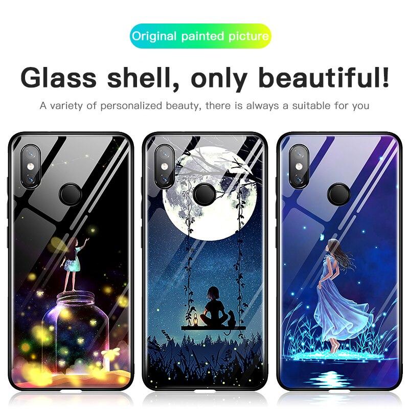 Image 3 - Moonlight Girl Luminous Glass Phone Case For Xiaomi Mi 8 9 SE Lite Redmi Note 4X 5 6 7 8 Pro Plus Luxury Starry Sky Cover Coque
