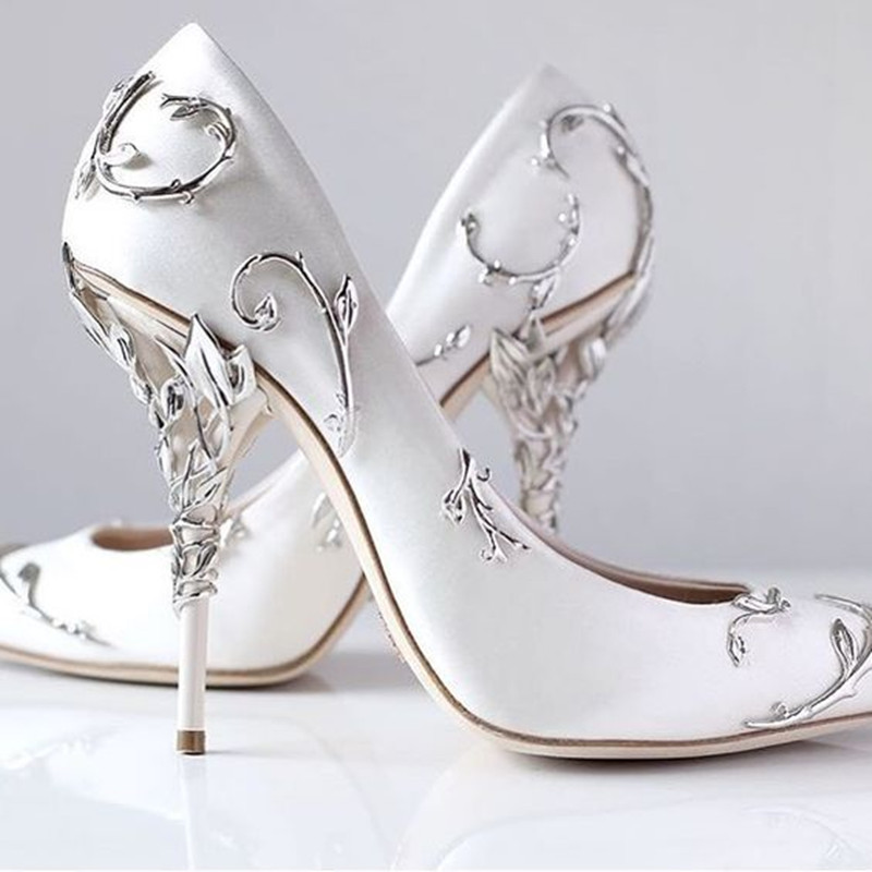 408dc6783157c US $86.52 25% OFF|Zobairou Gorgeous Flower Carving Pretty Women Shoes High  Heels Black White Blue Silk Wedding Shoes Bride Chaussure Femme Talon-in ...