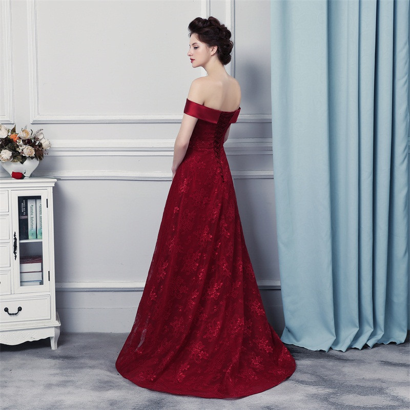 ba7a09bd29b3 Engagement Dress Abito Cerimonia Donna Sera 2019 Off the Shoulders Burgundy  Lace Evening Dresses Elegant -in Evening Dresses from Weddings   Events on  ...