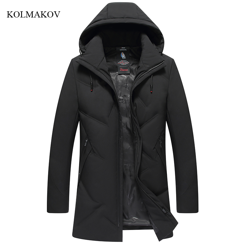 2018 New Arrival Winter Style Men Boutique Leisure   Down     Coats   High Quality Hat Detachable Solid Long Thick   Down     Coat   Size L-7XL