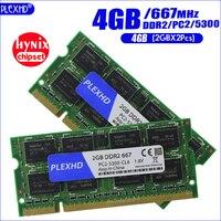 Plexhd 4G 4G B (2GBX 2 шт.) DDR2 pc2 5300 667 мГц 2RX8 памяти ноутбука 4G pc2-5300S ddr2 667 мГц 200pin Тетрадь Оперативная память (hynix чипсета)