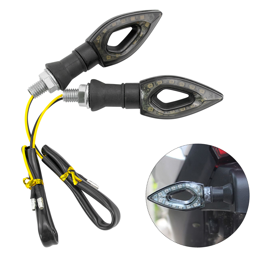 2 Pieces Arrow Shape Amber Led Turn Signals Lights For Motorcycles Tail Indicator Command Lamp Moto Accessories