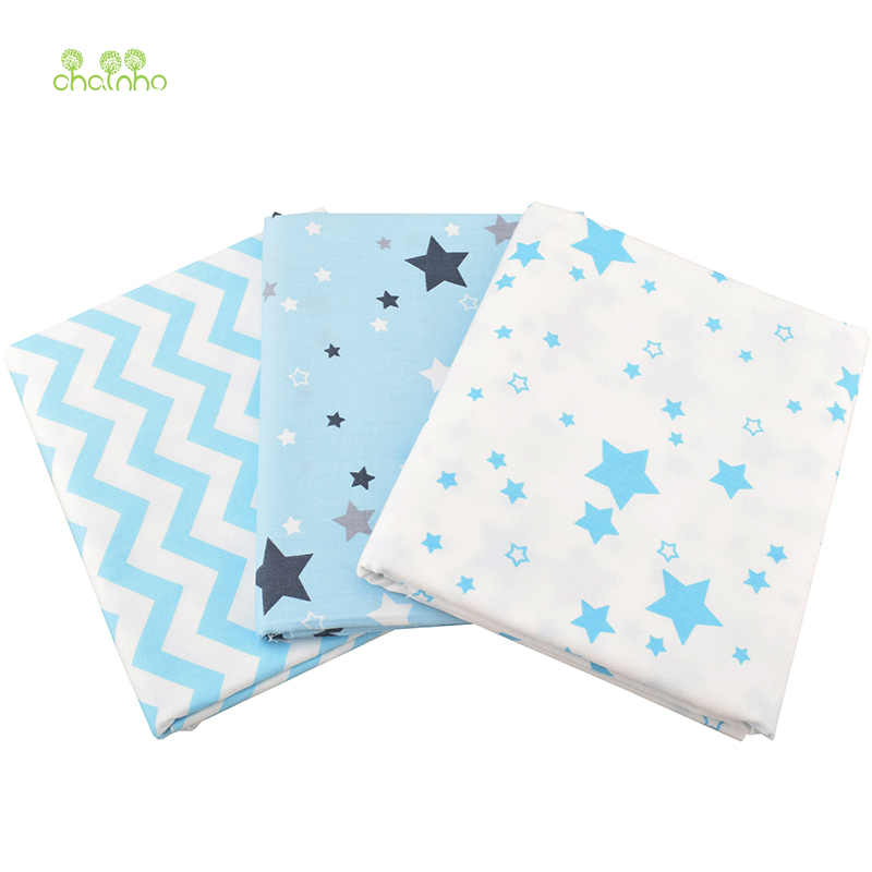 Fabric Hearty Chainho 3pcs/lot,twill Cotton Fabric,sky Blue Star Patchwork Cloth,diy Sewing Quilting Fat Quarters Material For Baby & Children