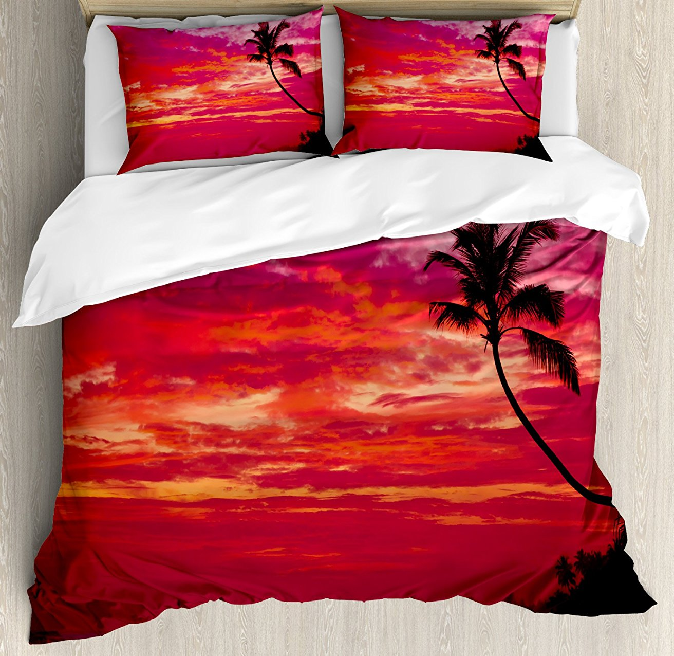 Duvet Cover Set, Sunset View from a Tropical Island Beach with Silhouette of Palm Tree on the Shore Print, 4 Piece Bedding Set