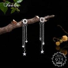 INALIS Long Chain Hanging Earrings Star Shape with Zircon CZ Drop Earrings for Women Jewelry 925 Sterling Silver Pendientes
