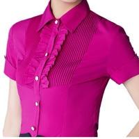 2017 Summer Women Short Sleeve Shirt New Fashion Elegant Clothing Slim Solid Color Ruffles Blouse Plus