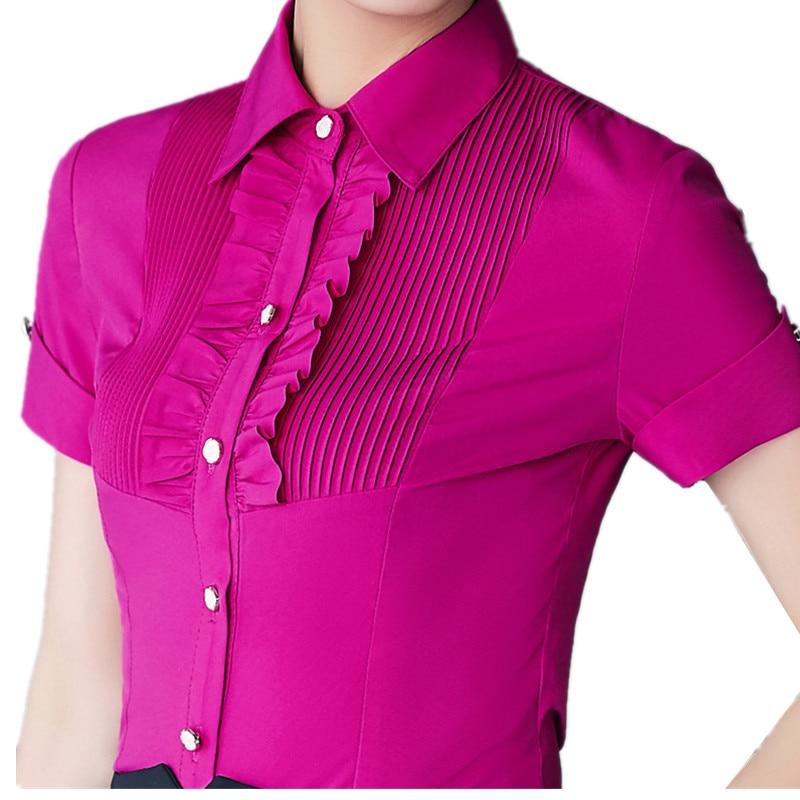 2017 summer women short sleeve shirt new fashion elegant for Solid color short sleeve dress shirts