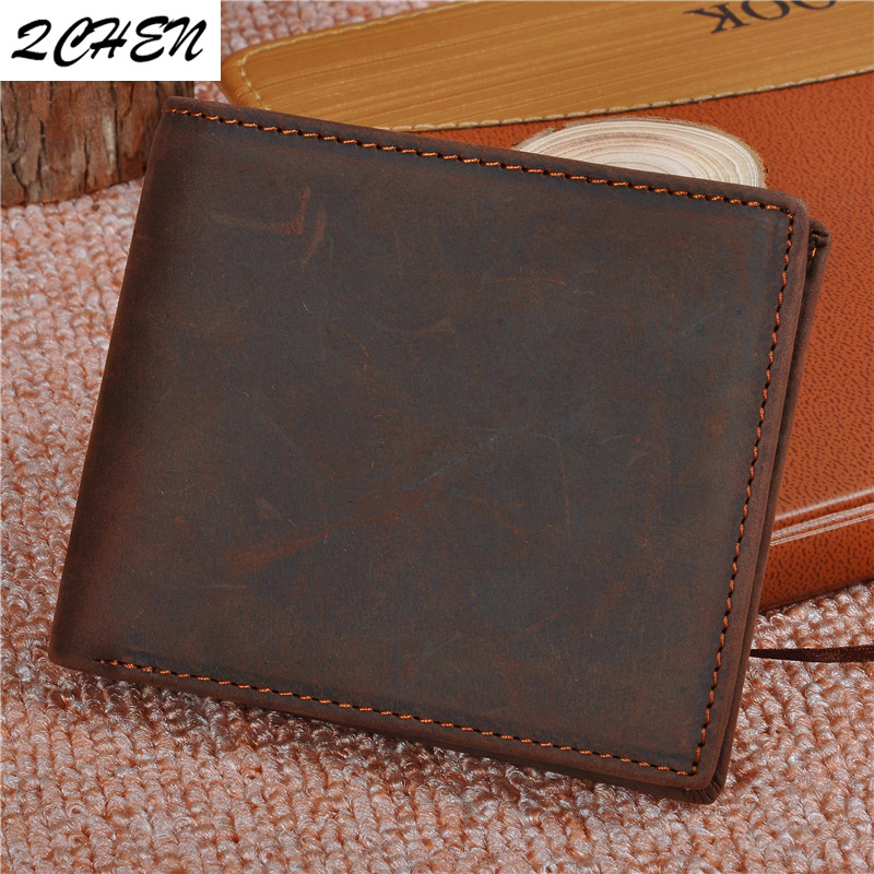 Men Wallets Multi-Functional Handmade Crazy-Horse Genuine-Leather Purse Cowhide-Coin
