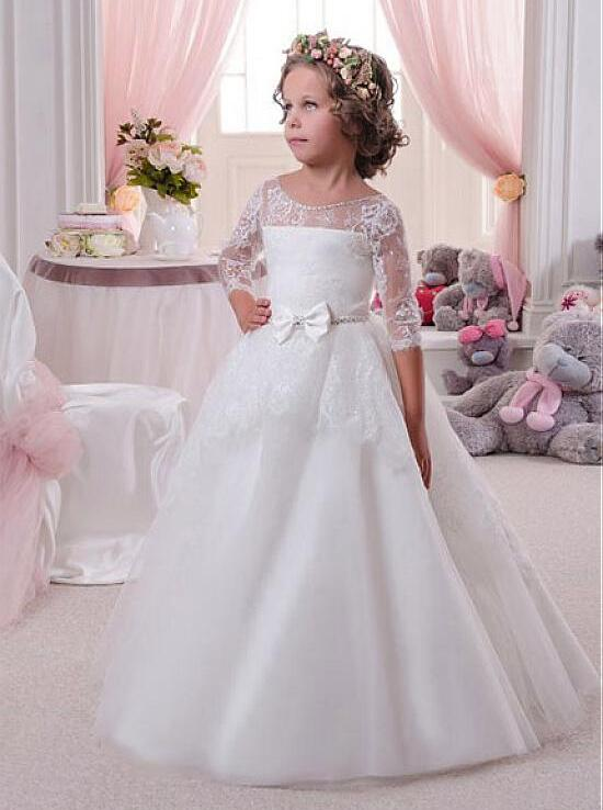 купить Beige 2018 Flower Girl Dresses For Weddings Ball Gown Tulle Appliques Lace Up First Communion Dresses For Little Girls онлайн