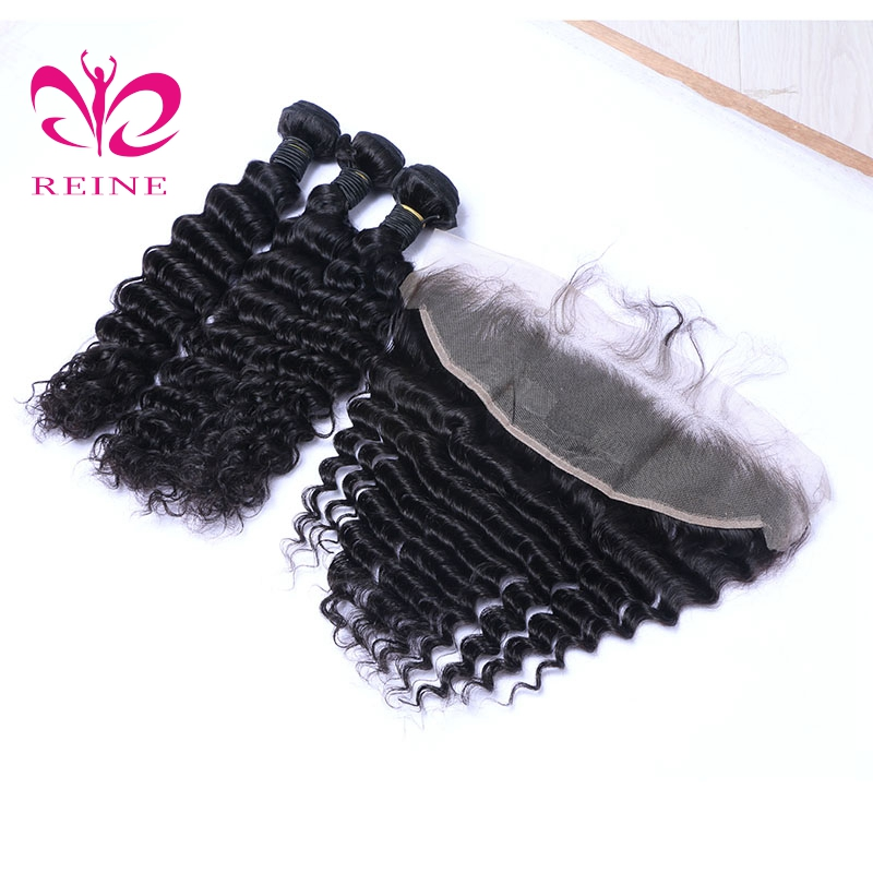 peruvian hair deep wave bundles with frontal 13*4 best hair style for black women 10 ~26 available REINE none remy free shipping ...