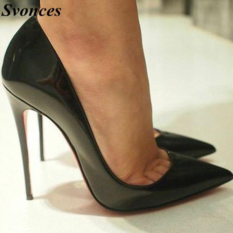 Ayakk.'ten Kadın Pompaları'de Büyük Boy Ayakkabı Kadın Çok Güzel Kate Topuklu 12 cm/10 cm Siyah Patent Deri Ayakkabı Pigalle Moda Düğün ayakkabı Gelinlik Kadınlar Pompaları'da  Grup 1
