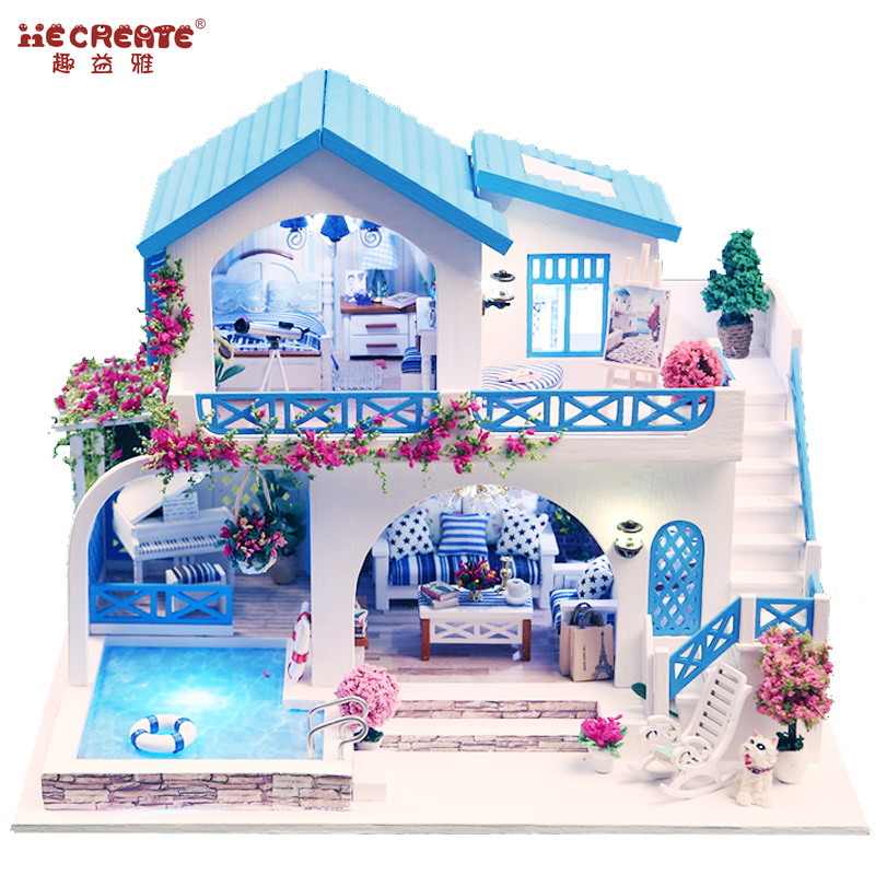 Doll House Diy Furniture With Swimming Pool Girl S Toys For Children Dollhouse Miniatures Home Toy Wooden House Romantic Gift Doll House Diy House Diywooden House Aliexpress