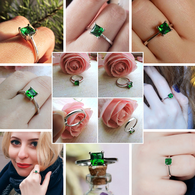 CZCITY Emerald Simple Female Zircon Stone Finger Ring 925 Sterling Silver Women Jewelry Prom Wedding Engagement Rings Brand Gift 5