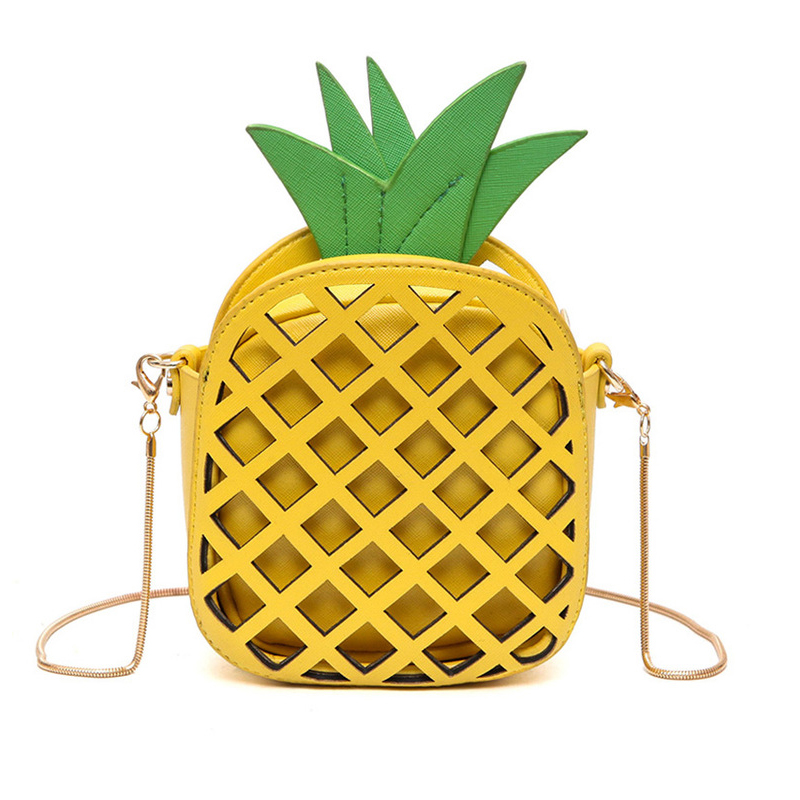 2017 Leather Cute Handbag For Women Lovely Pineapple Girl Messenger Bag With Chain Hollow Out PU Women Bag Mini Purse cute love heart hollow out bracelet watch for women