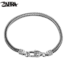 ZABRA 925 Sterling Silver Fox Tail Chopin Braided Bracelet For Men Women Lovers Gothic Party Trendy Statement Christmas