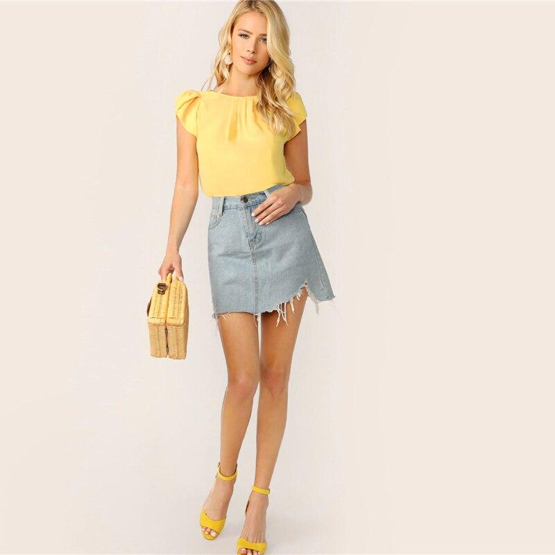Blusa Oxilum amarilla, azul, rosa o naranja de verano ligera Paraíso de la Moda | PdM
