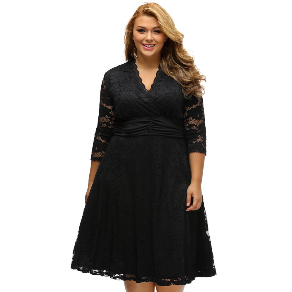 A Line Three Quarter Sleeves Knee Length Elastic Lace Plus Size