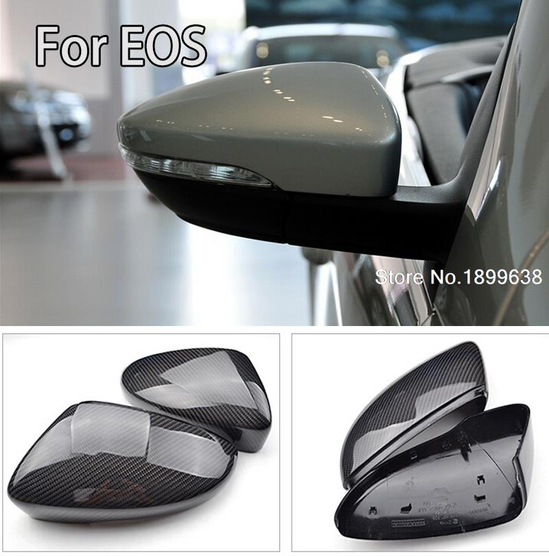 NEW 1:1 Replacement Carbon Fiber Rear View Mirror Cover car styling for Volkswagen VW EOS 2011 - 2015 replacement car styling carbon fiber abs rear side door mirror cover for bmw 5 series f10 gt f07 lci 2014 523i 528i 535i
