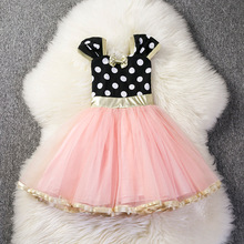 Summer Short-sleeved Tutu Little Mouse Princess Dress Baby Girls Lace Print for Spring Point Fashion Cartoon Dresses