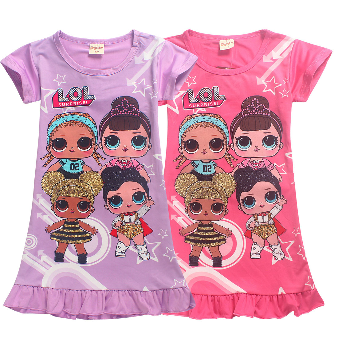 Multi-color 2018 Summer Teenage Girls Clothes Short Sleeve Princess Dress Cartoon Character Printed Childrens Casual Clothes