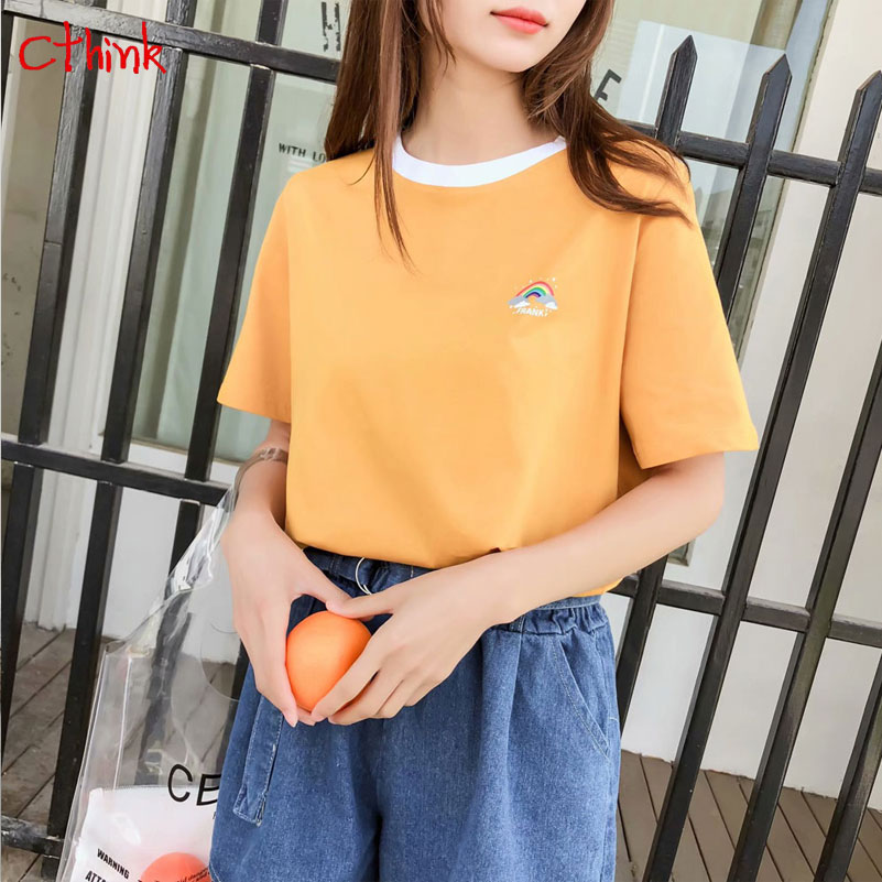 Summer 2018 New Rainbow Embroidery Yellow T Shirt Women Fashion Loose O Neck Pullovers Tops Knitted Short Sleeve Womens Tshirt