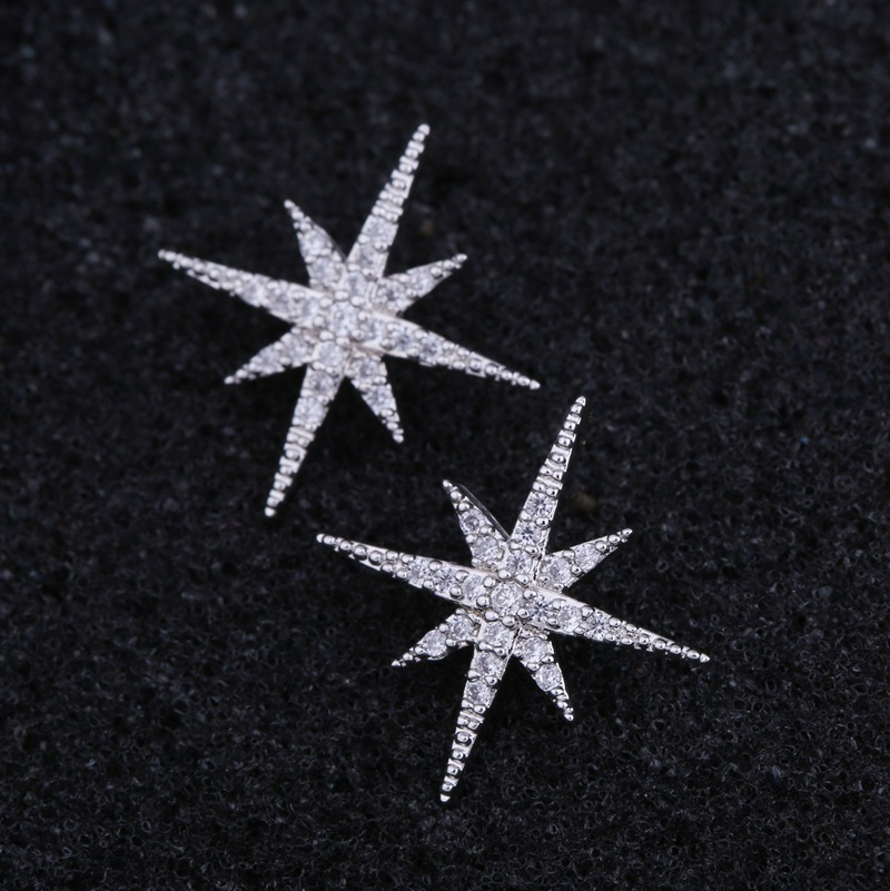 Tiny Trendy 925 Silver classics Star Stud Earrings delicate cubic zirconia geometric small Earrings boucle d'oreille femme 2019 1