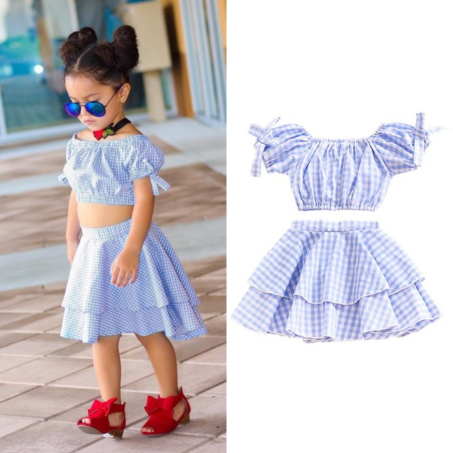 730a15a427a2 Casual Baby Girl Dress Set Plaid Off Shoulder Clothing Suits Kids Crop Top  +Skirt Outfits Clothes Summer Blue Set H1