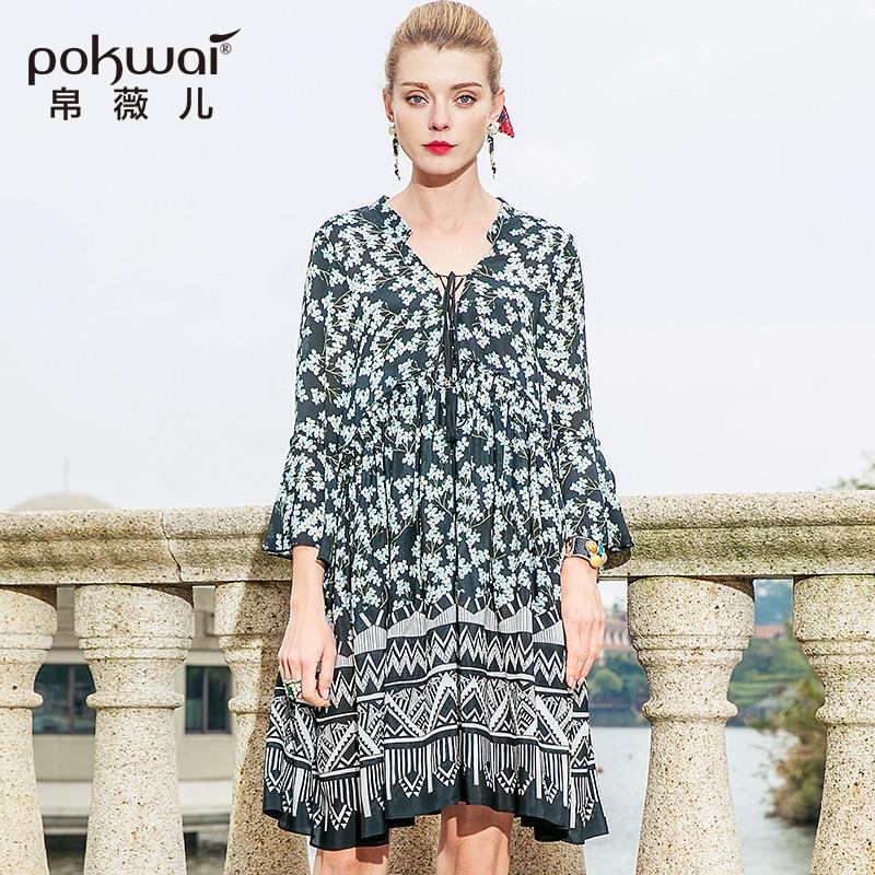 Ruches Floral D'été Midi V Droites 2018 Manches Multi Robe Pokwai Femmes De Haute Qualité Papillon Robes Casual cou Mode Soie Nouveau mNOvw8n0