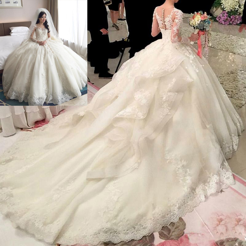 2017 New Ball Gown Jewel Wedding Dresses Long Sleeve 1m Floor Length Cathedral Train Tiered Organza Lique Beaded In From