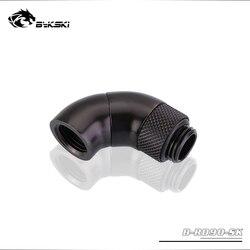 Bykski g1/4 thread rosca 90 graus adaptador de encaixe rotativo rotativo 90 graus água refrigeração adaptadores de metal