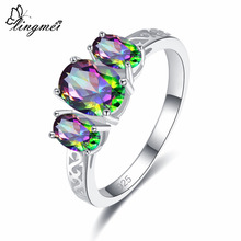 lingmei Dropshipping Women Jewelry Oval Cut Multicolor & Blue Cubic Zircon Silver Ring Size 6 7 8 9 Gorgeous Vintage Gift