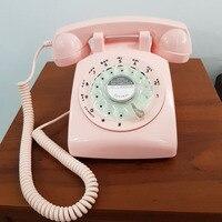 revolve dial Vintage pink begie Black landline telephone Plastic Home office Retro Wire Landline fixed Phone Europe style