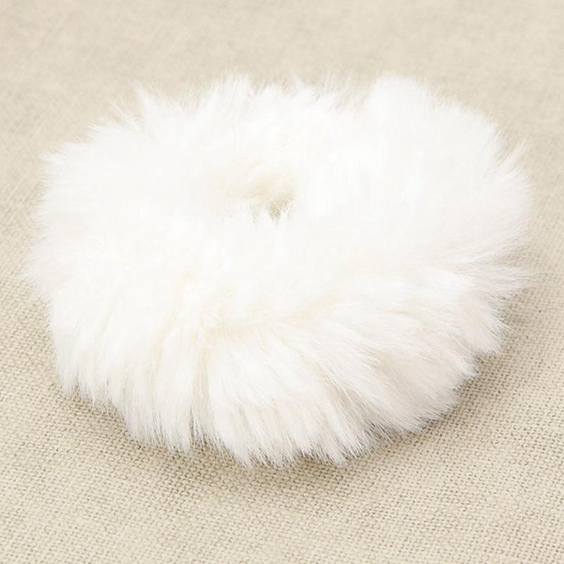 Модная эластичная резинка из искусственного кроличьего меха для девочек, резинка для волос, держатель для хвоста, эластичная плюшевая повязка для волос, кольцо, аксессуары для волос - Цвет: WT