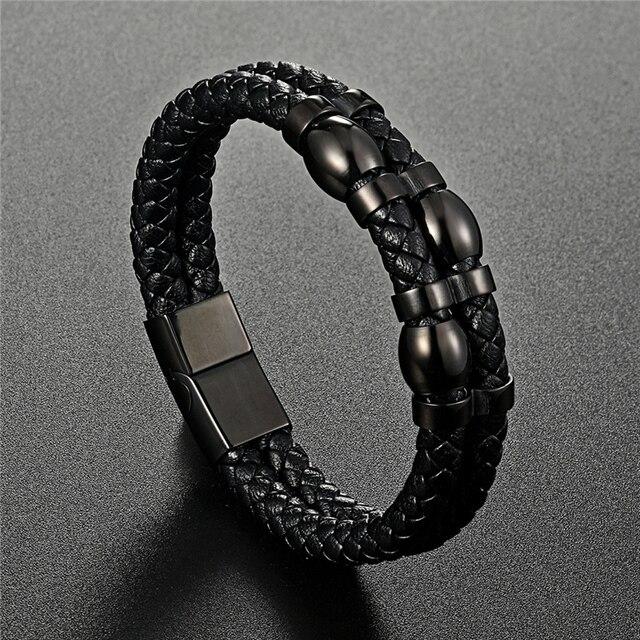 Купить браслет двухслойный мужской из натуральной кожи модное ювелирное картинки