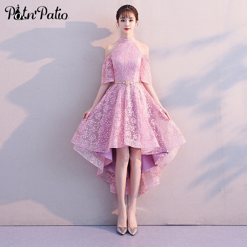 Pink Lace Graduation   Dresses   For 8th Grade 2019 Half Off The Shoulder High Low   Prom     Dresses   Plus Size Special Occasion   Dresses